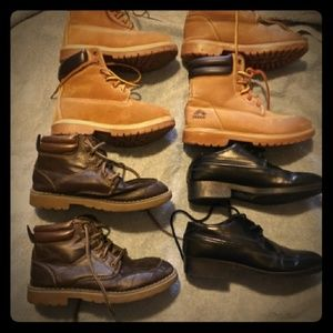 Lot 4 pairs Young Mens Boots, Shoes, Leather Sz M1